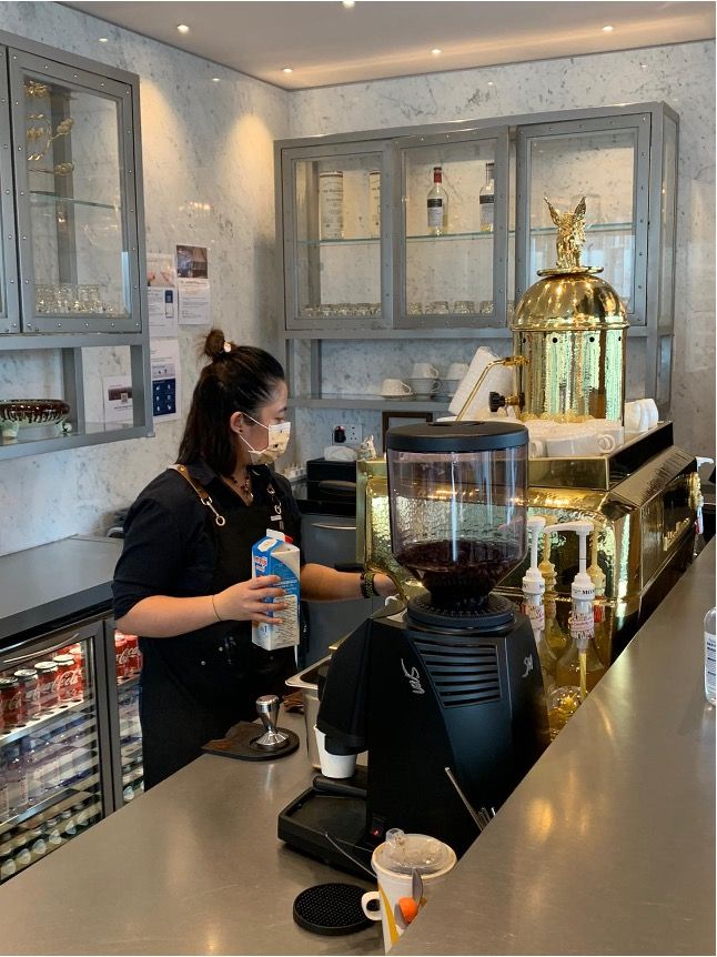 Coworking and Private office members enjoy premium coffee offered by barista Phylis